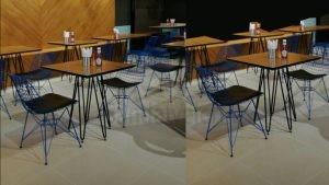 Umman Change Burger Telli Sandalye Kompakt Tablali Masa Cafe Aksesuarlari